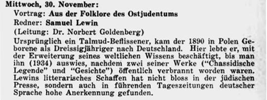 Samuel Lewin referierte auch in der New Yorker deutsch-jüdischen Emigranten-Community, AUFBAU 1. November 1938