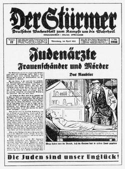 Der in Nürnberg verlegte Stürmer diffamierte die jüdischen Ärzte als skrupellose Verbrecher. Repro: nurinst-archiv