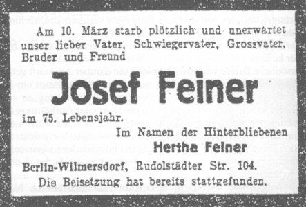 Todesanzeige in der C.V.-Zeitung